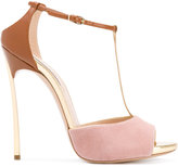 Casadei Blade t-strap sandals - women - Patent Leather/Suede/Leather - 37