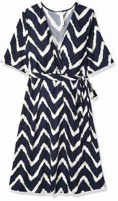 Three Seasons Maternity Women's Maternity Elbow Sleeve Surplice Print Dress