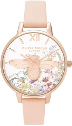 Olivia Burton Enchanted Garden Rose Goldtone Stainless Steel Leather-Strap Watch