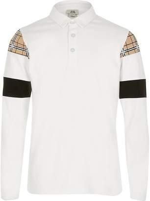 River Island Boys white check blocked polo shirt