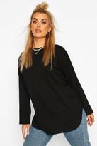 boohoo Plus Cotton Oversized Curve Hem T-shirt