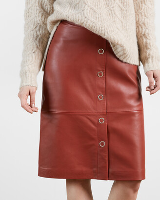 Ted Baker DEETRA Leather Button Front Pencil Skirt