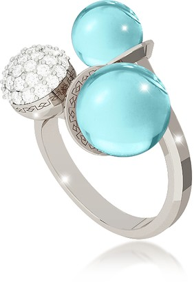 Rebecca Boulevard Stone Rhodium Over Bronze Ring w/Hydrothermal Turquoise Stones and Cubic Zirconia