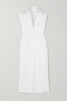 Loretta Caponi Gina Lace-trimmed Embroidered Cotton Maxi Nightdress - White