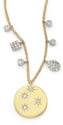 Meira T Diamond &14K Yellow Gold Starburst Disc Pendant Necklace