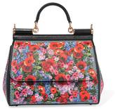Dolce & Gabbana Sicily Medium Floral-print Textured-leather Tote - Black