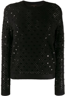 Louis Vuitton Pre-Owned open knit sequinned details jumper