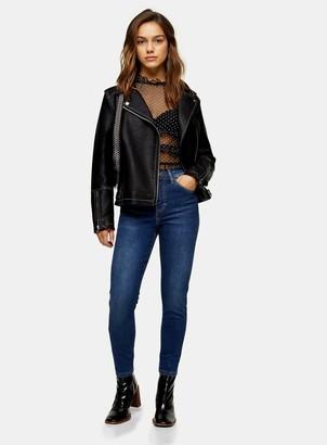 Topshop Womens Petite Rich Blue Jamie Jeans - Blue