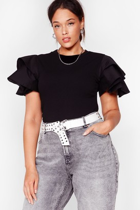 Nasty Gal Womens Shoulders How It's Done Plus Ruffle Bodysuit - Black - 16