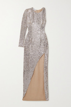 NERVI Kendall One-sleeve Sequined Tulle Dress - Silver