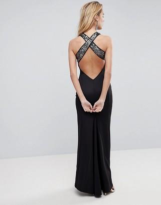 Asos Design ASOS Sequin Bodice Strappy Back Fishtail Maxi Dress
