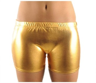 Crazy Chick New Ladies Womens Metallic Shiny Hot Pants/Shorts Stretchy Wet Look Fitness Sports Gym Dance wear Pants (Large/X-Large