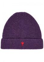 Ami Purple Ribbed Wool Beanie