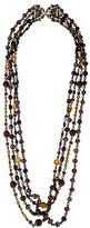 Stephen Dweck Brass Citrine, Garnet & Pearl Multistrand Bead Necklace