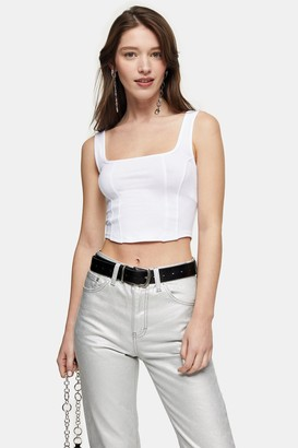 Topshop Womens White Double Seam Crop Vest - White