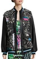 Embellished Denim & Leather Bomber Jacket