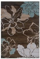 Linon Milan Collection Brown/ Turquoise Area Rug (5' x 7'7)