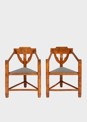 Paul Smith Early 20th-Century Geometric Chip-Carved 'Warwick' Oak Chairs - Set of Two