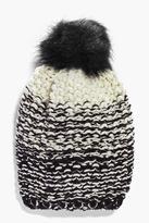 Boohoo Brooke Ombre Knit Faux Fur Pom Beanie Hat