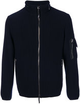 Giorgio Armani ribbed zipped cardigan - men - Polyamide/Polyester/Spandex/Elastane/Virgin Wool - 50