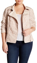 Live A Little Faux Leather Lace Yoke Jacket (Plus Size)