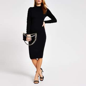 River Island Womens Black long sleeve ruched bodycon dress