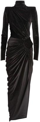 Alexandre Vauthier High-Neck Embellished Velvet Gown