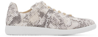 Maison Margiela Grey and White Snake Print Replica Sneakers