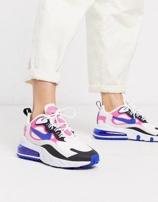 Nike 270 React White Pink And Black Sneakers
