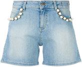 Twin-Set pearl embellished denim shorts - women - Cotton/Polyester/Spandex/Elastane - 25