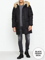 Diesel Folk Faux Fur Hooded Parka- Black