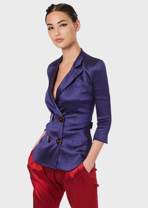 Giorgio Armani Double-Breasted Jacket In Shantung Silk