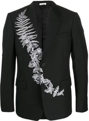 Alexander McQueen Frosted Fern embroidered single breasted blazer