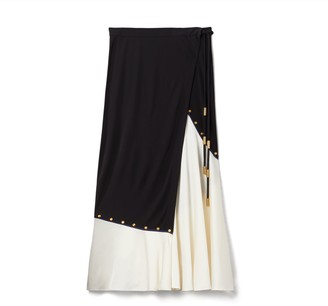 Tory Burch Mixed-Material Wrap Skirt