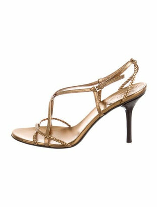 Gucci Leather Slingback Sandals Gold