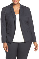Halogen R) Glen Plaid Stretch Suit Jacket (Plus Size)