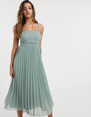 Asos Design DESIGN pleated dobby midi dress with drawstring details in sage green