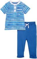 Isaac Mizrahi Striped Short Sleeve Henley & Pant Set (Baby Boys 12-24M)