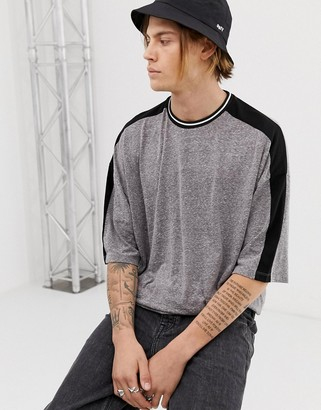 Asos Design DESIGN oversized t-shirt with half sleeve and contrast shoulder taping in interest fabric-Gray