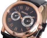 Seiko Men's Quartz Watch with Black Dial Analogue Display Quartz Leather SGN012P1