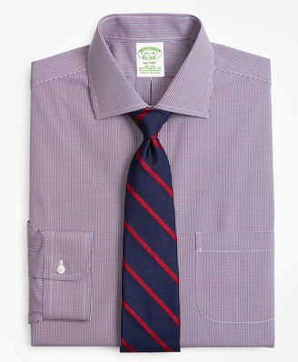 Brooks Brothers Stretch Milano Slim-Fit Dress Shirt, Non-Iron Two-Tone Gingham