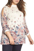 Lucky Brand Floral Print Mixed Media Blouse (Plus Size)