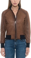 Forzieri Brown Leather Women's Bomber Jacket