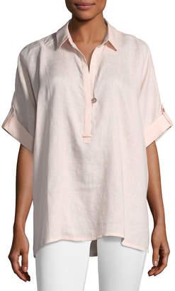 Go Silk Plus Size Oversized Short-Sleeve Linen Tunic