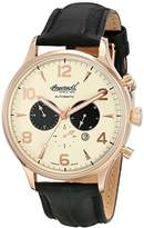 Ingersoll Unisex Automatic Watch with Yellow Dial Chronograph Display and Black Leather Strap IN1309RCR