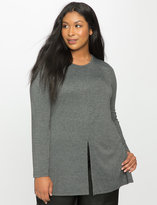 ELOQUII Plus Size Split Front Long Sleeve Tee