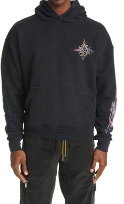 Rhude Neon Flame Graphic Hooded Sweatshirt