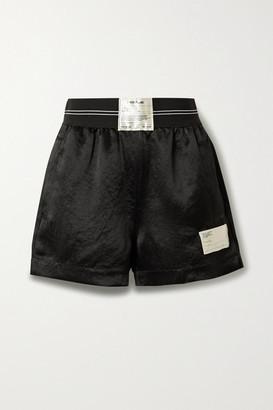 Helmut Lang Appliqued Jacquard-trimmed Satin Shorts - Black