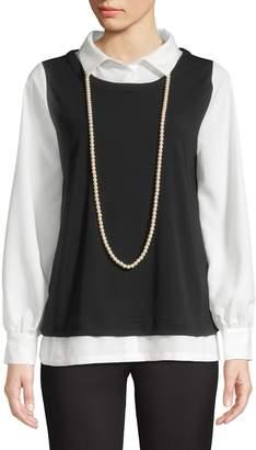 Karl Lagerfeld Paris Colourblock Long-Sleeve Top