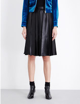 Mo&Co. Pleated faux-leather and chiffon skirt